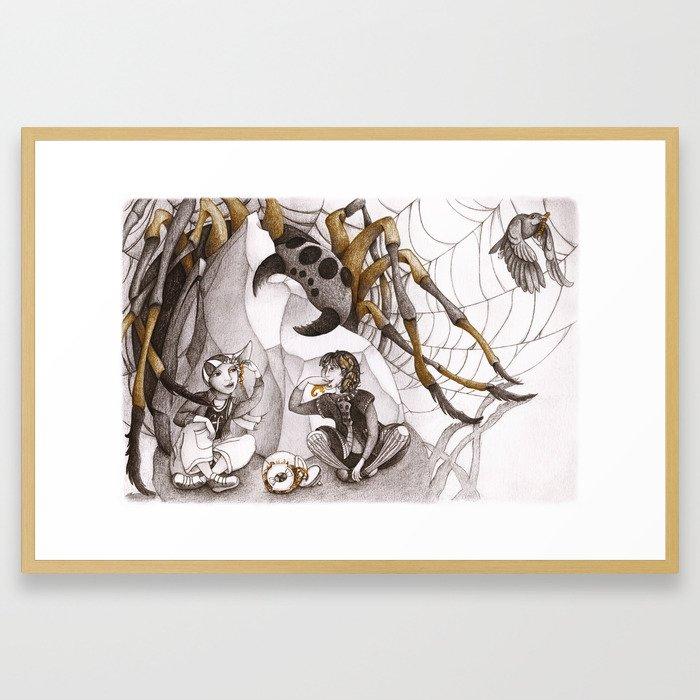 Snack and Spider Framed Art Print