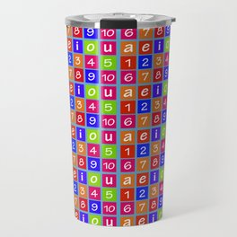 Numbers and Vowels Colorful Pattern Travel Mug