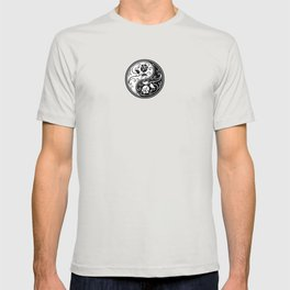 Black and White Yin Yang Roses T-shirt