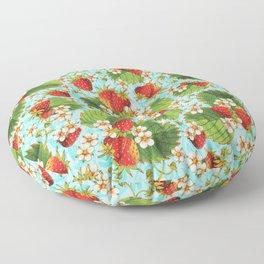 Botanical Strawberries Floor Pillow