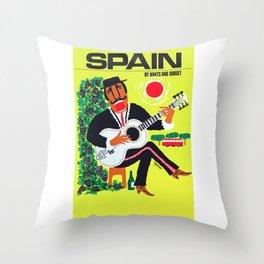 1960 Spain Guitar Player Travel Poster Throw Pillow