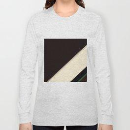 Modern Black Cream and Green Stripe Pattern Long Sleeve T-shirt