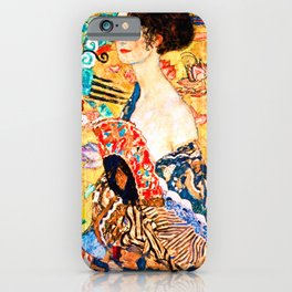 Gustav Klimt - Lady with a Fan - Dame mit Fächer - Vienna Secession Painting iPhone Case