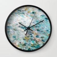 secret life Wall Clocks featuring Secret Life of Winter by Jessica Torrant