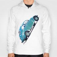 volkswagon Hoodies featuring Blue VW Bug by Regan's World