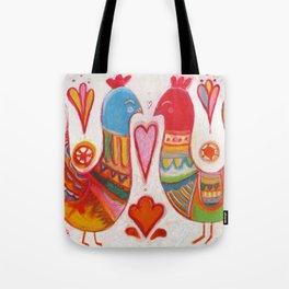 Folk Love Birds Tote Bag