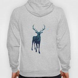 Deer silhouette with winter forest Hoody