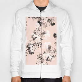 Modern girly elegant blush pink white floral pattern Hoody