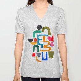 'Collide' Abstract Colorful Paper Collage Minimal Mid Century Pattern by Ejaaz Haniff Unisex V-Neck