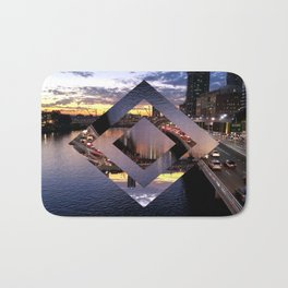 Beautiful Brisbane River - Geometric Design Bath Mat