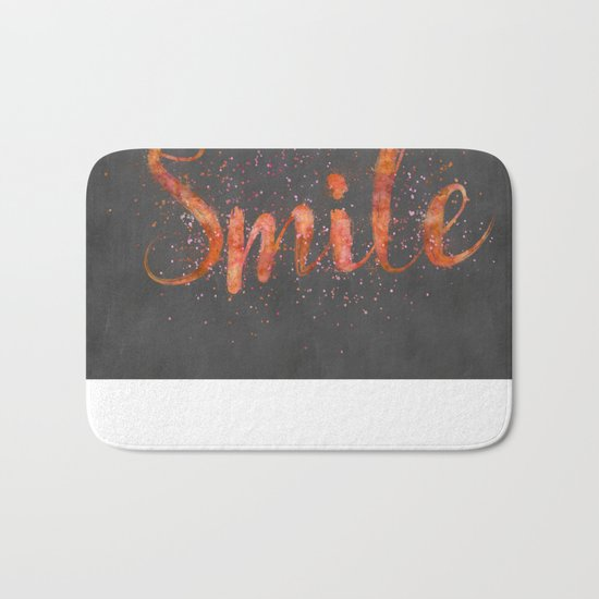 Smile motivating handlettering watercolor style Bath Mat