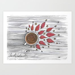 Hot coffee on a chilly fall day Art Print