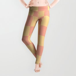 Pretty Peachy Checkered Pattern Leggings