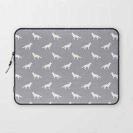 German Shepherd silhouette grey and white minimal dog breed pattern dogs dog art Laptop Sleeve