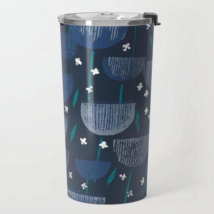 Botanical Block Print M+M Navy by Friztin Travel Mug
