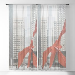 Chicago with a Splash of Red Sheer Curtain