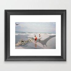 THE BEACH-Suburban Monster Series Framed Art Print