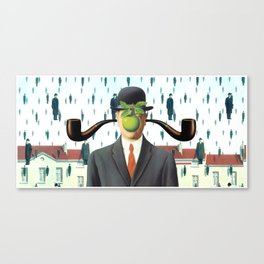 Ear Smoking Apple Guy Standing in the Man Rain Canvas Print