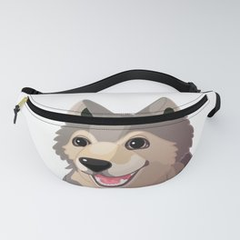 Happy gray wolf. Vector graphic character Fanny Pack