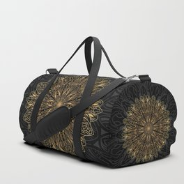 MANDALA IN BLACK AND GOLD Duffle Bag