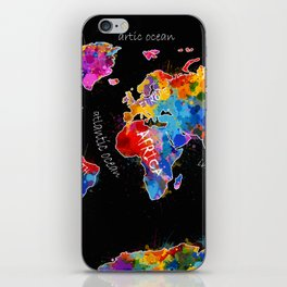 world map color splatter black iPhone Skin