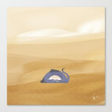 little dragon is sleeping in the sand illustration Canvas Print