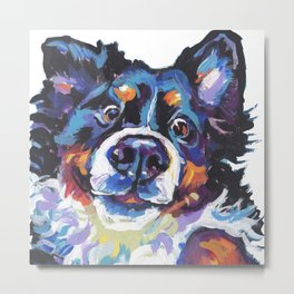 Berner Bernese Mountain Dog Portrait Pop Art painting by Lea Metal Print