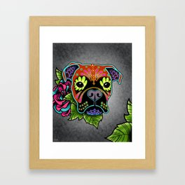 Boxer in Fawn - Day of the Dead Sugar Skull Dog Framed Art Print