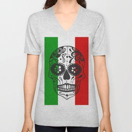 Mexican Skull With Italian Flag Unisex V-Neck
