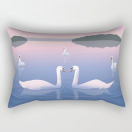 Swimming Swans on the Lake Rectangular Pillow