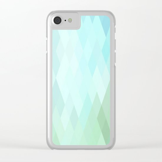 Shades of  Blue Diamonds Abstract Clear iPhone Case