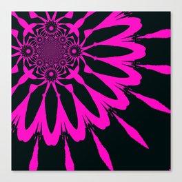 The Modern Flower Black & Fuchsia Canvas Print