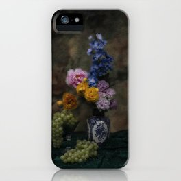 Still life with flowers and grapes iPhone Case