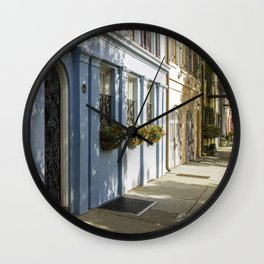 Charleston SC No. 4  Rainbow Row Wall Clock