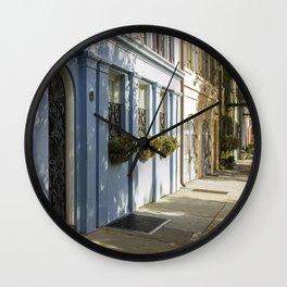 Charleston SC No. 4  Rainbow Row Wall Clock