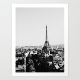 Paris City Sky // Eiffel Tower City Landscape Photography Shot from the top of Champs Elysees France Art Print