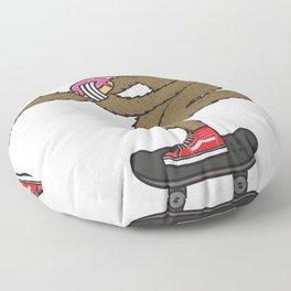Skater Sloth loves donut Floor Pillow
