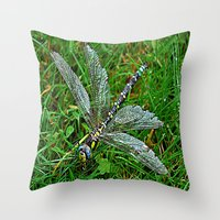 dragonfly Throw Pillows featuring dragonfly by  Agostino Lo Coco