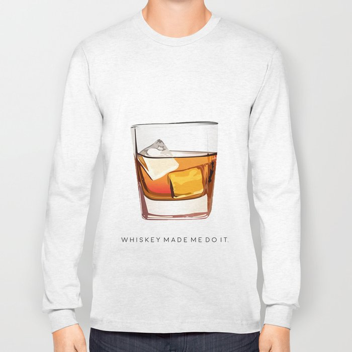 f85d0e5d Alcohol Poster,Funny Poster Whiskey Art,Make Mine a Double,Alcohol  Gift,Whiskey Cocktail,Inspiring Long Sleeve T-shirt