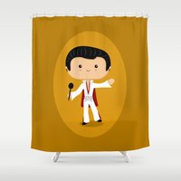 elvis presley Shower Curtains featuring Elvis Presley by Sombras Blancas Art & Design