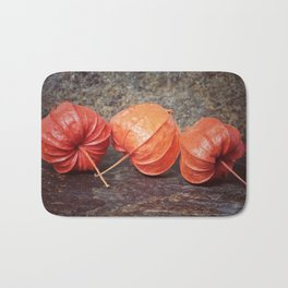 Fall colors with the winter cherries Bath Mat