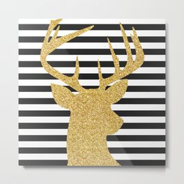 Gold Deer Black and White Stripes Metal Print