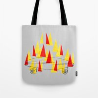 skateboard Tote Bags featuring Flaming Skateboard by marcusmelton