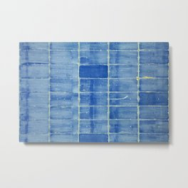 Blue abstract urban wall Metal Print
