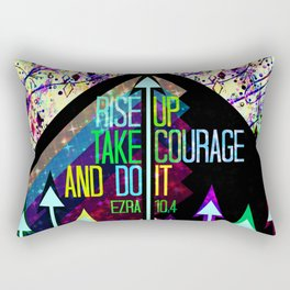 RISE UP TAKE COURAGE AND DO IT Colorful Geometric Floral Abstract Painting Christian Bible Scripture Rectangular Pillow