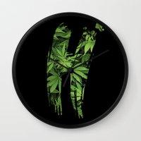 marijuana Wall Clocks featuring Marijuana H by Spyck