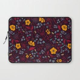 Mustard Yellow, Burgundy & Blue Floral Pattern Laptop Sleeve