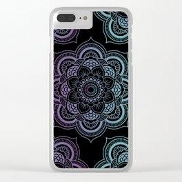 Mandalas Pattern (Black) Clear iPhone Case