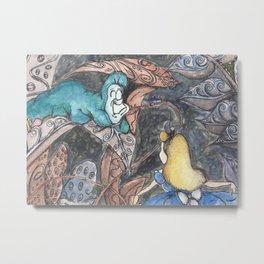 Alice and Caterpillar Metal Print