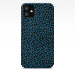 Teal Leopard Animal Pattern iPhone Case